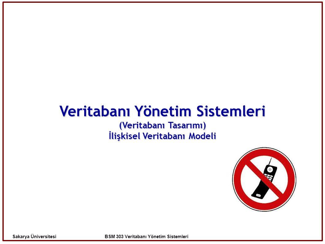 Veritabanı Yönetim Sistemleri (Veritabanı Tasarımı) İlişkisel Veritabanı Modeli Sakarya Üniversitesi BSM 303 Veritabanı Yönetim Sistemleri
