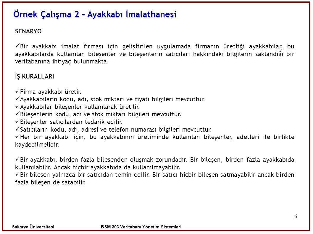 Sakarya Üniversitesi BSM 303 Veritabanı Yönetim Sistemleri Örnek Çalışma 2