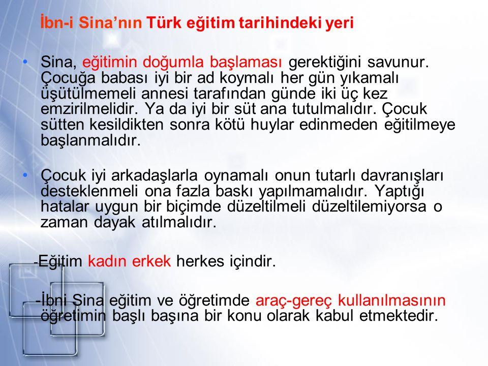 İbn-i Sina'nın Türk eğitim tarihindeki yeri Sina, eğitimin doğumla başlaması gerektiğini savunur. Çocuğa babası iyi bir ad koymalı her gün yıkamalı üş