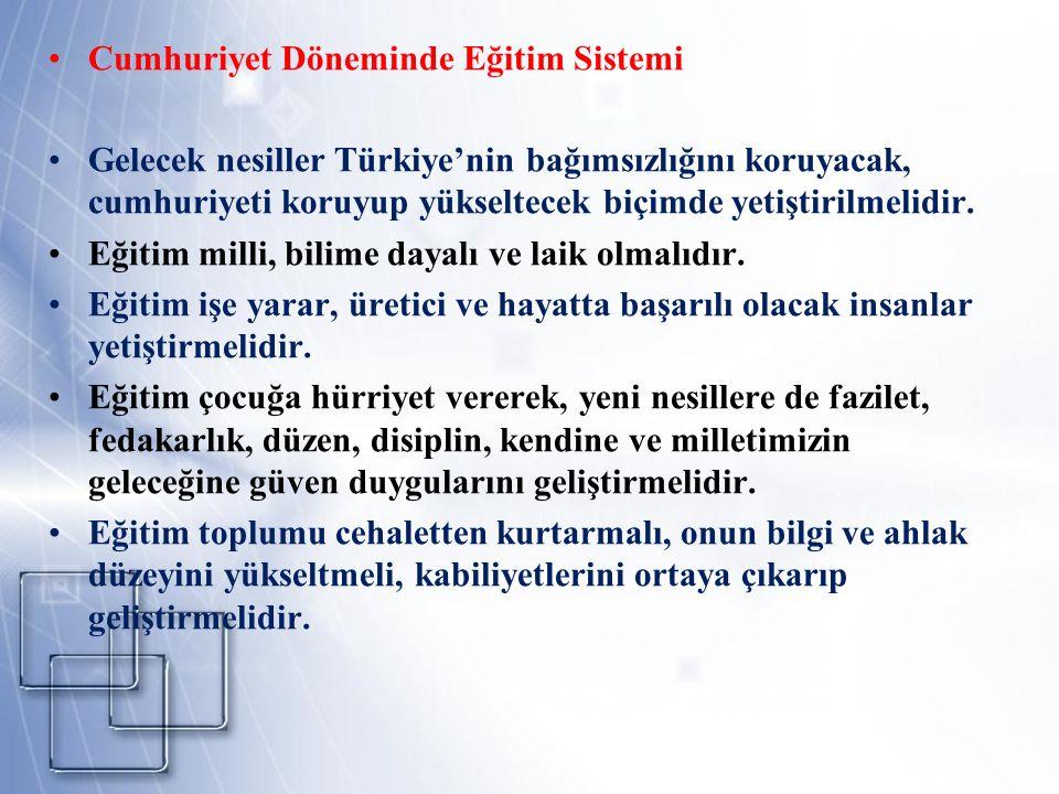 Cumhuriyet Döneminde Eğitim Sistemi Gelecek nesiller Türkiye'nin bağımsızlığını koruyacak, cumhuriyeti koruyup yükseltecek biçimde yetiştirilmelidir.