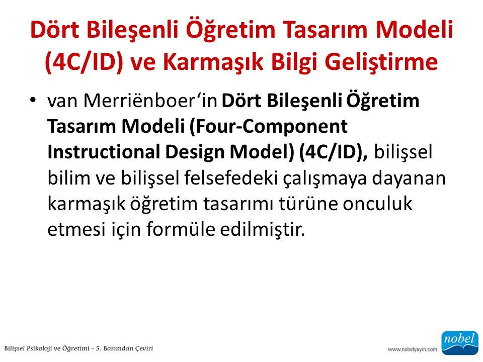 Dört Bileşenli Öğretim Tasarım Modeli (4C/ID) ve Karmaşık Bilgi Geliştirme van Merriёnboer'in Dört Bileşenli Öğretim Tasarım Modeli (Four-Component Instructional Design Model) (4C/ID), bilişsel bilim ve bilişsel felsefedeki çalışmaya dayanan karmaşık öğretim tasarımı türüne onculuk etmesi için formüle edilmiştir.