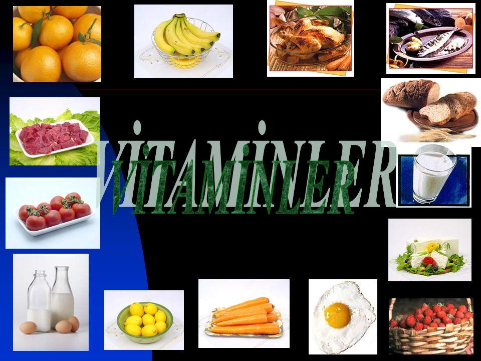 Sağlıklı beslenme için küçük miktarlarda alınmaları zorunlu olan, herhangi birinin eksikliği spesifik bir bozukluk ve hastalık meydana getiren farklı kimyasal yapılarda olan küçük moleküllü organik maddelerdir.