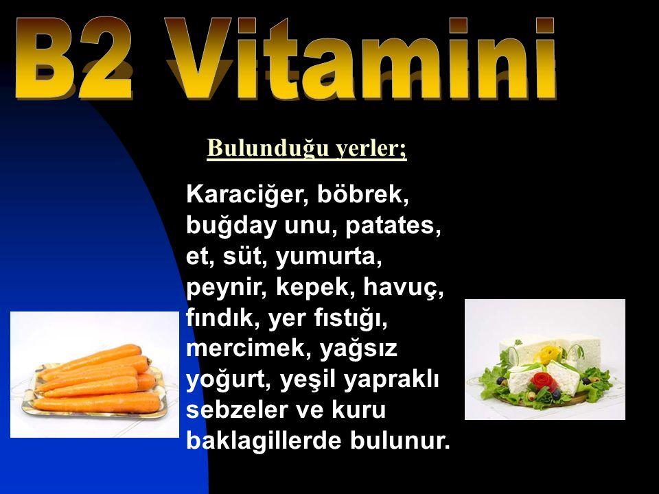 Karaciğer, böbrek, buğday unu, patates, et, süt, yumurta, peynir, kepek, havuç, fındık, yer fıstığı, mercimek, yağsız yoğurt, yeşil yapraklı sebzeler