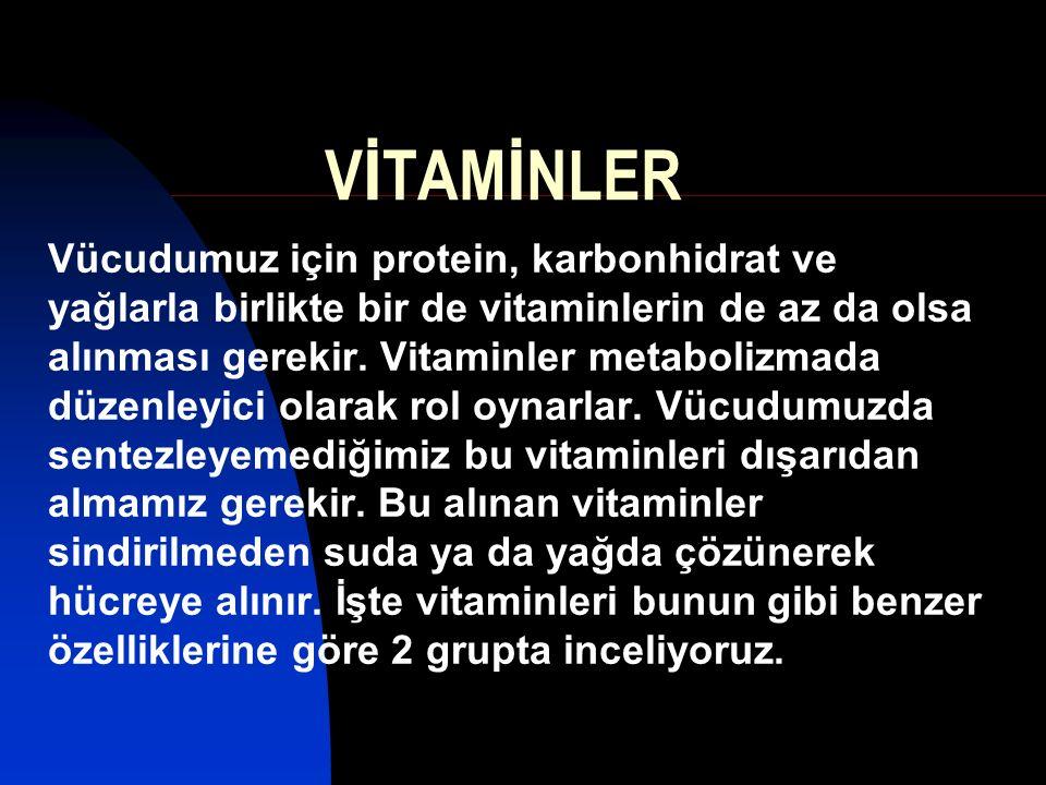Suda eriyenler Yağda eriyenler C vitamini (askorbik asit) B Grubu vitaminler Enerji oluşturanlar Kan yapıcı Diğer Tiamin (B1), Riboflavin (B2), Niasin (nikotinik asit) (B3), Biotin (vitamin H), Pantotenik asid (B5) Folik asid, B12 vitamini Pridoksin (B6), Pridoksal, Pridoksamin A vitamini, D vitamini, E vitamini, K vitamini Vitaminler