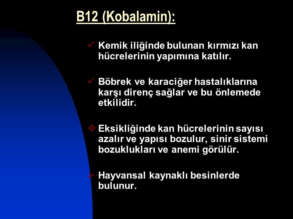 B12 (Kobalamin): Kemik iliğinde bulunan kırmızı kan hücrelerinin yapımına katılır. Böbrek ve karaciğer hastalıklarına karşı direnç sağlar ve bu önleme