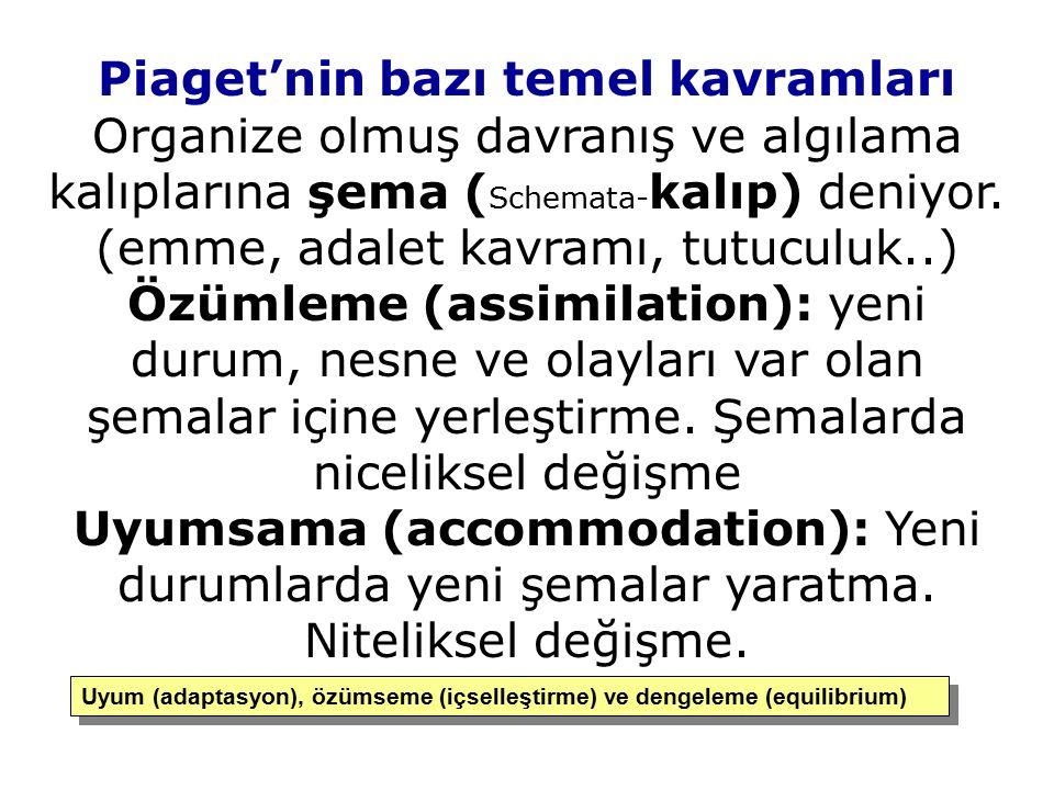 Piaget'nin bazı temel kavramları Organize olmuş davranış ve algılama kalıplarına şema ( Schemata- kalıp) deniyor. (emme, adalet kavramı, tutuculuk..)
