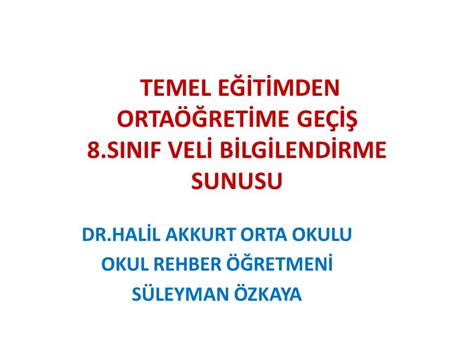 TEMEL EĞİTİMDEN ORTAÖĞRETİME GEÇİŞ 8.SINIF VELİ BİLGİLENDİRME SUNUSU DR.HALİL AKKURT ORTA OKULU OKUL REHBER ÖĞRETMENİ SÜLEYMAN ÖZKAYA