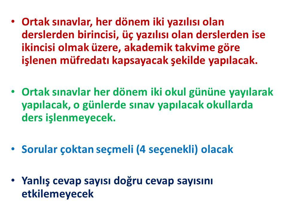 ORTAK SINAVLAR KAPSAMINDAKİ DERSLER Türkçe Matematik Fen ve Teknoloji Din Kültürü ve Ahlâk Bilgisi T.C.