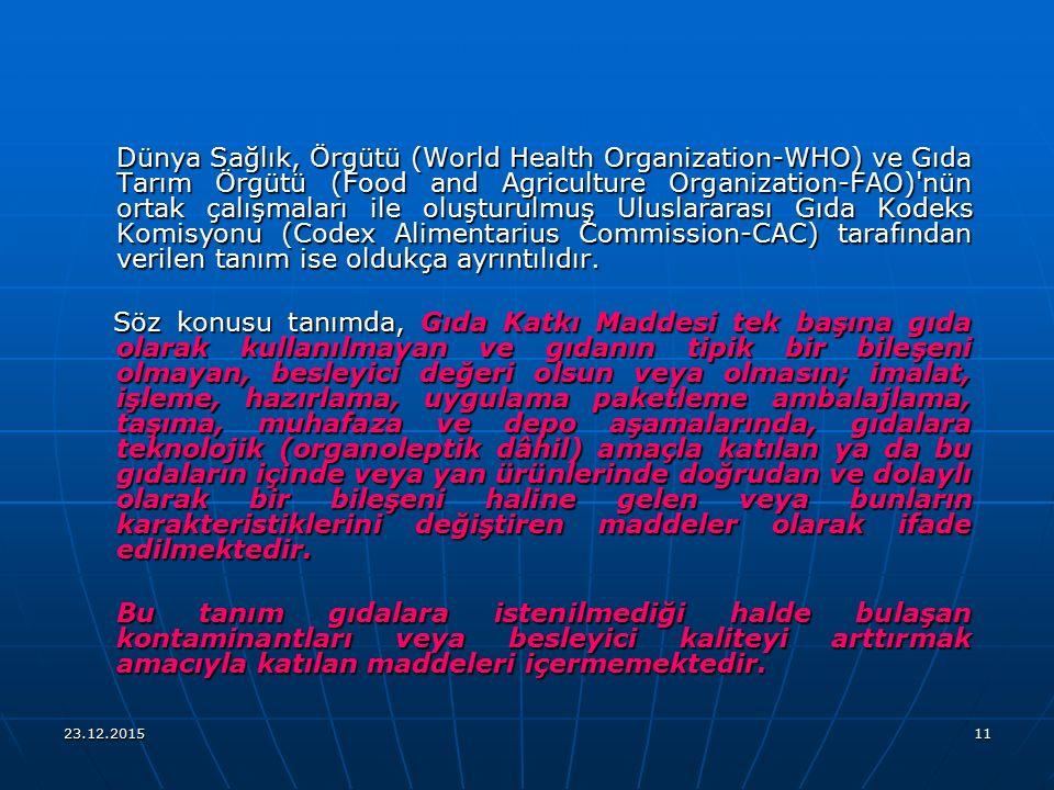 23.12.201511 Dünya Sağlık, Örgütü (World Health Organization-WHO) ve Gıda Tarım Örgütü (Food and Agriculture Organization-FAO)'nün ortak çalışmaları i