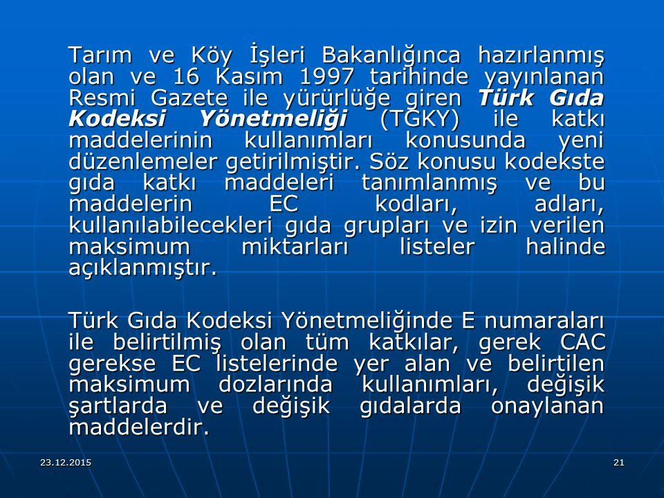 23.12.201521 Tarım ve Köy İşleri Bakanlığınca hazırlanmış olan ve 16 Kasım 1997 tarihinde yayınlanan Resmi Gazete ile yürürlüğe giren Türk Gıda Kodeks