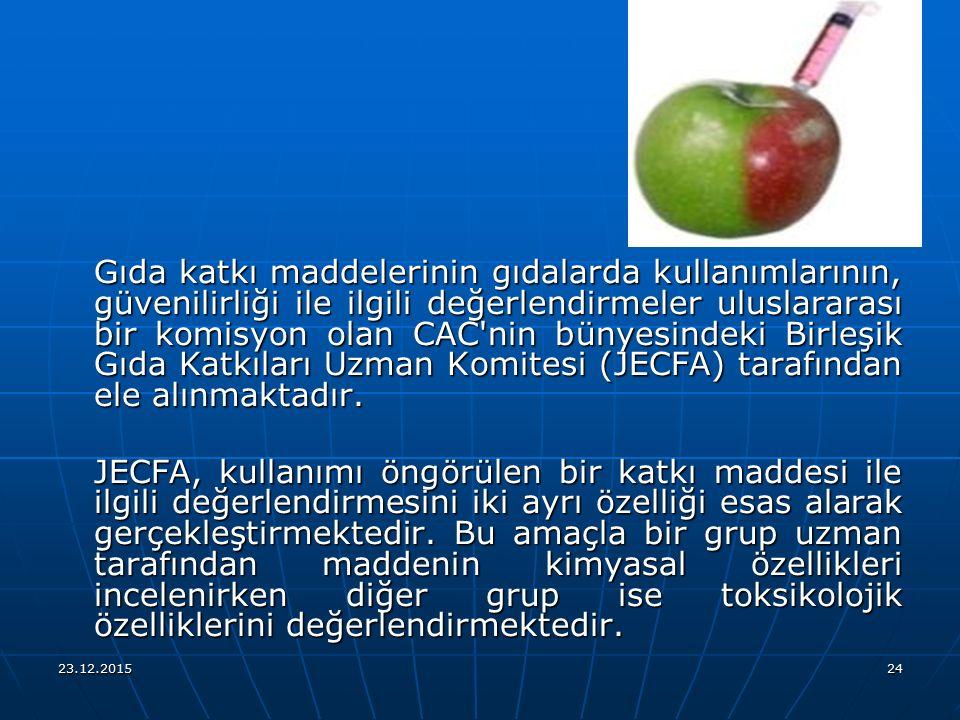 23.12.201524 Gıda katkı maddelerinin gıdalarda kullanımlarının, güvenilirliği ile ilgili değerlendirmeler uluslararası bir komisyon olan CAC'nin bünye