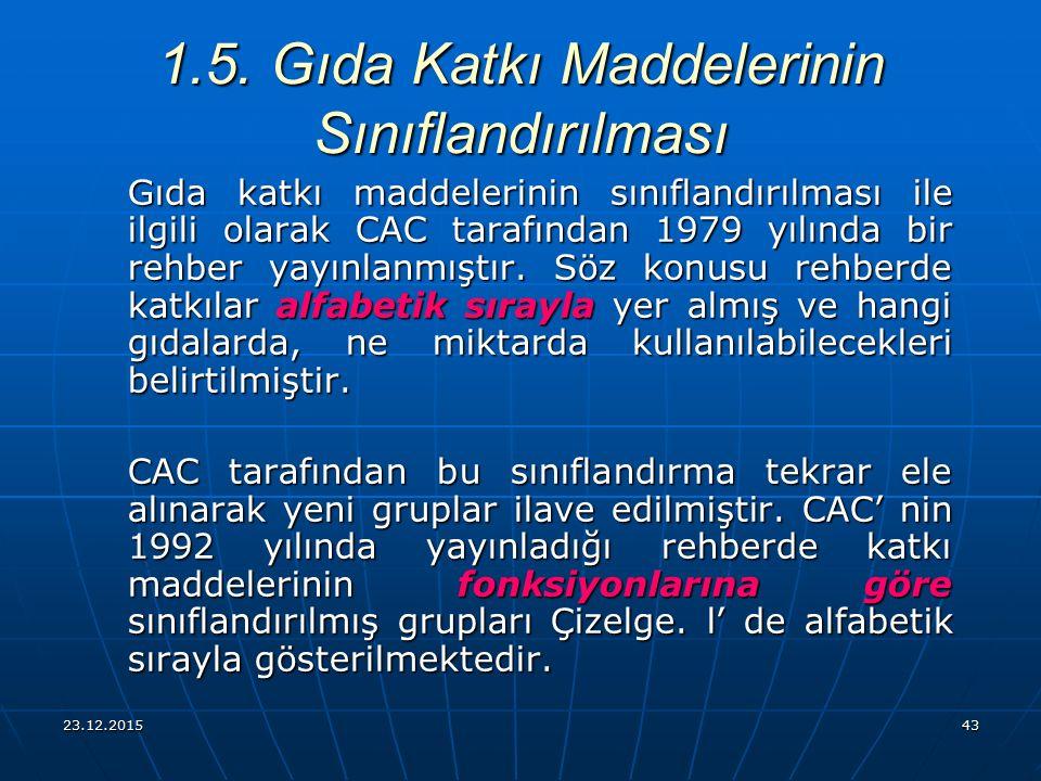 23.12.201543 Gıda katkı maddelerinin sınıflandırılması ile ilgili olarak CAC tarafından 1979 yılında bir rehber yayınlanmıştır. Söz konusu rehberde ka