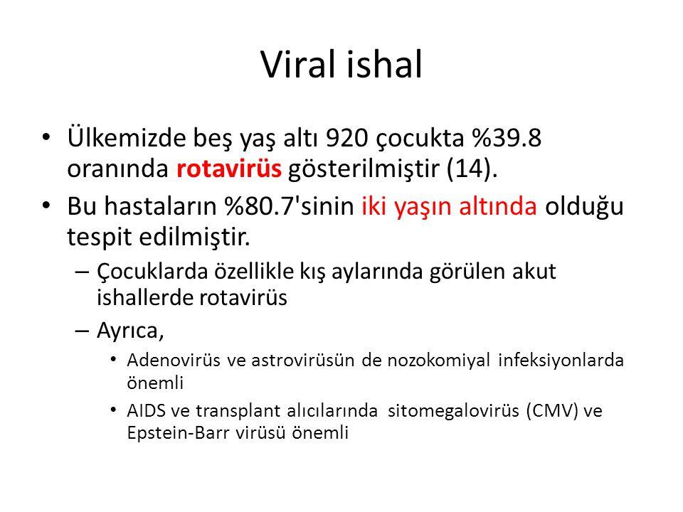 Viral ishal Ülkemizde beş yaş altı 920 çocukta %39.8 oranında rotavirüs gösterilmiştir (14). Bu hastaların %80.7'sinin iki yaşın altında olduğu tespit