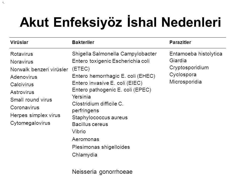Akut Enfeksiyöz İshal Nedenleri VirüslarBakterilerParazitler Rotavirus Noravirus Norwalk benzeri virüsler Adenovirus Calcivirus Astrovirus Small round