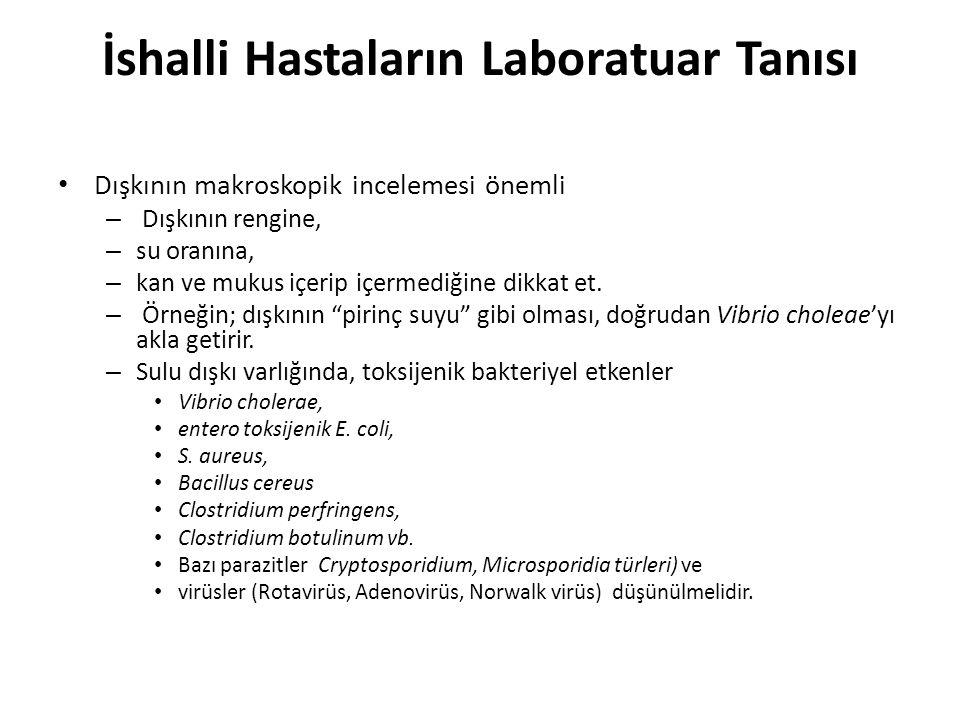 İshalli Hastaların Laboratuar Tanısı Dışkının makroskopik incelemesi önemli – Dışkının rengine, – su oranına, – kan ve mukus içerip içermediğine dikka