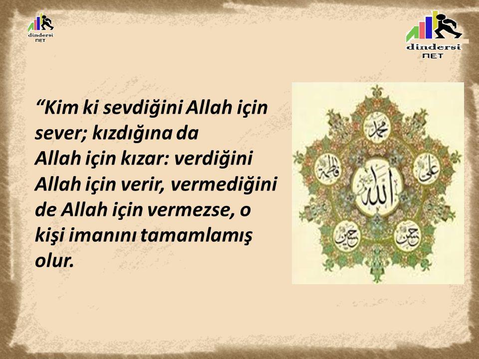 """""""Kim ki sevdiğini Allah için sever; kızdığına da Allah için kızar: verdiğini Allah için verir, vermediğini de Allah için vermezse, o kişi imanını tama"""