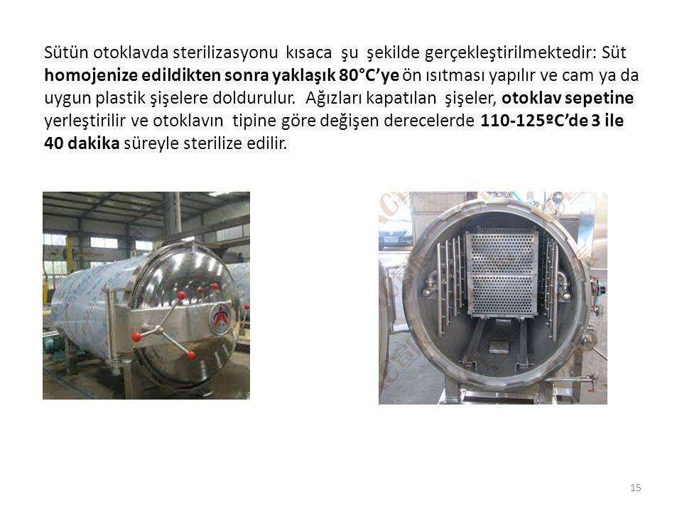 Sütün otoklavda sterilizasyonu kısaca şu şekilde gerçekleştirilmektedir: Süt homojenize edildikten sonra yaklaşık 80°C'ye ön ısıtması yapılır ve cam y