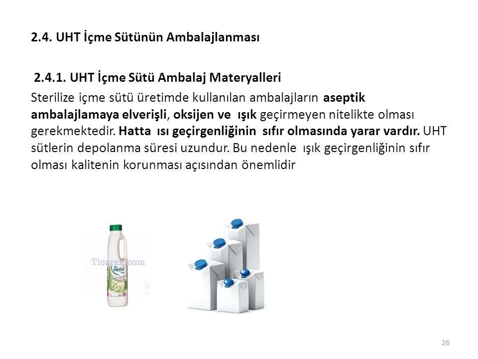 2.4. UHT İçme Sütünün Ambalajlanması 2.4.1. UHT İçme Sütü Ambalaj Materyalleri Sterilize içme sütü üretimde kullanılan ambalajların aseptik ambalajlam