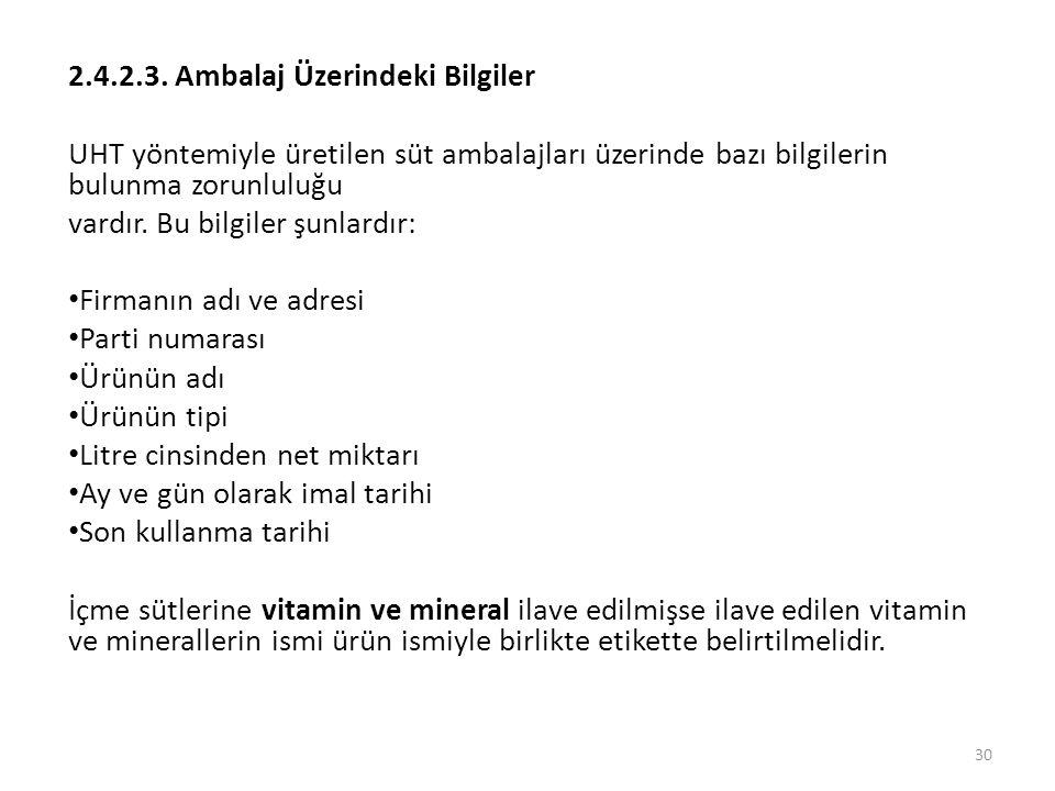 2.4.2.3. Ambalaj Üzerindeki Bilgiler UHT yöntemiyle üretilen süt ambalajları üzerinde bazı bilgilerin bulunma zorunluluğu vardır. Bu bilgiler şunlardı