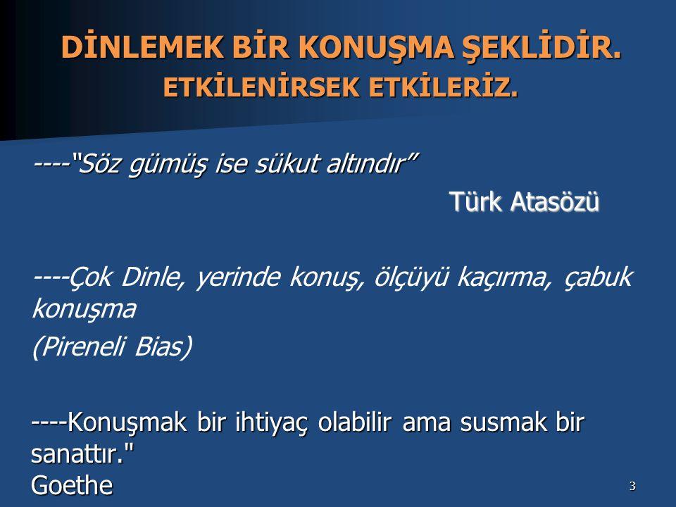 """DİNLEMEK BİR KONUŞMA ŞEKLİDİR. ETKİLENİRSEK ETKİLERİZ. ----""""Söz gümüş ise sükut altındır"""" Türk Atasözü Türk Atasözü ----Çok Dinle, yerinde konuş, ölçü"""