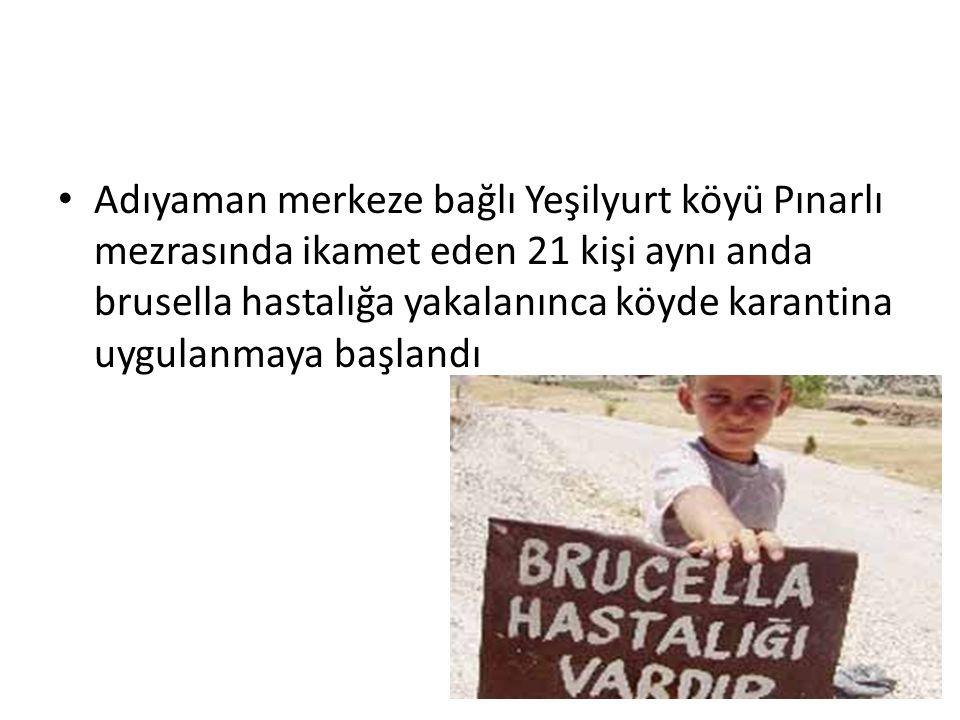 Adıyaman merkeze bağlı Yeşilyurt köyü Pınarlı mezrasında ikamet eden 21 kişi aynı anda brusella hastalığa yakalanınca köyde karantina uygulanmaya başl