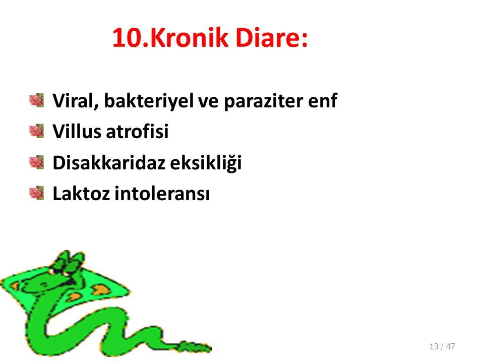 10.Kronik Diare: Viral, bakteriyel ve paraziter enf Villus atrofisi Disakkaridaz eksikliği Laktoz intoleransı 13 / 47