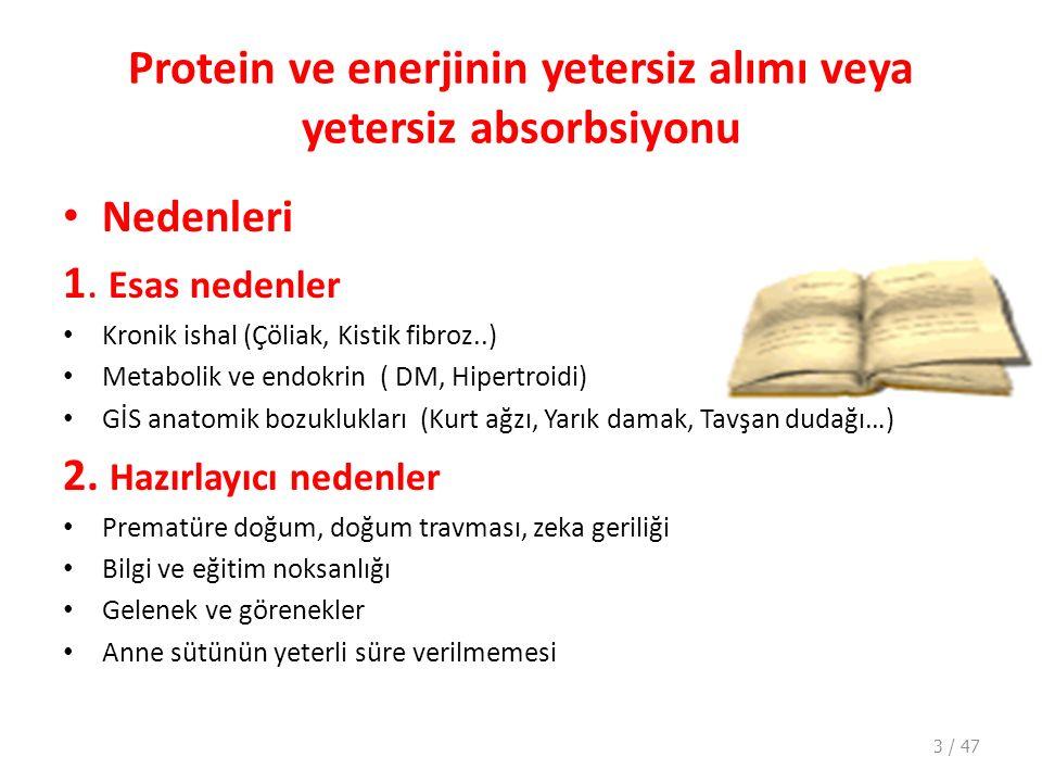 Protein ve enerjinin yetersiz alımı veya yetersiz absorbsiyonu Nedenleri 1.