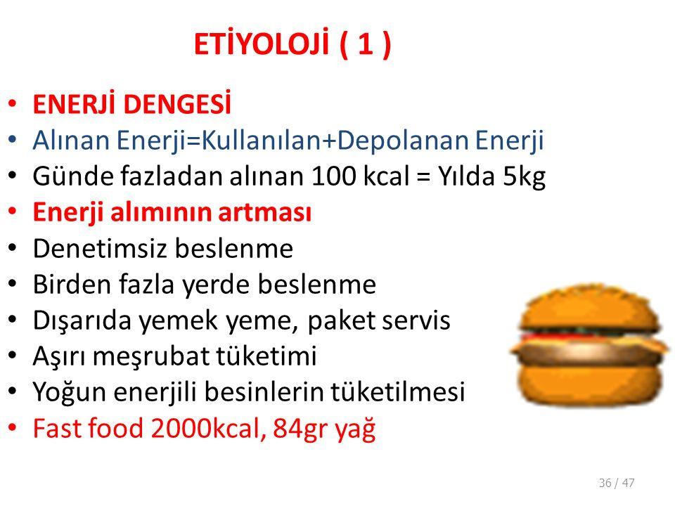ETİYOLOJİ ( 1 ) ENERJİ DENGESİ Alınan Enerji=Kullanılan+Depolanan Enerji Günde fazladan alınan 100 kcal = Yılda 5kg Enerji alımının artması Denetimsiz beslenme Birden fazla yerde beslenme Dışarıda yemek yeme, paket servis Aşırı meşrubat tüketimi Yoğun enerjili besinlerin tüketilmesi Fast food 2000kcal, 84gr yağ 36 / 47