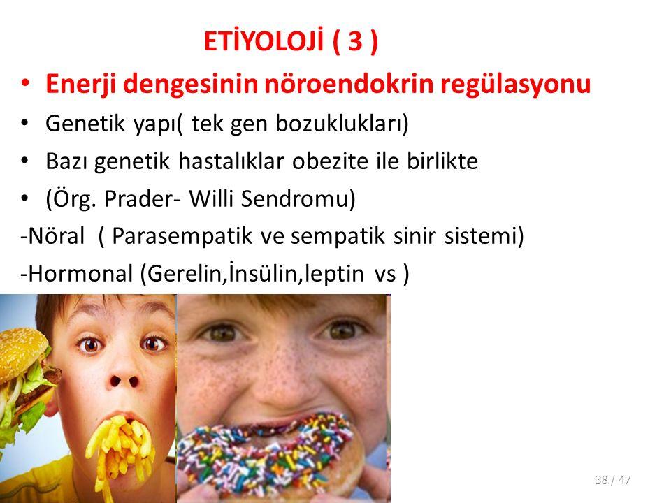 ETİYOLOJİ ( 3 ) Enerji dengesinin nöroendokrin regülasyonu Genetik yapı( tek gen bozuklukları) Bazı genetik hastalıklar obezite ile birlikte (Örg.