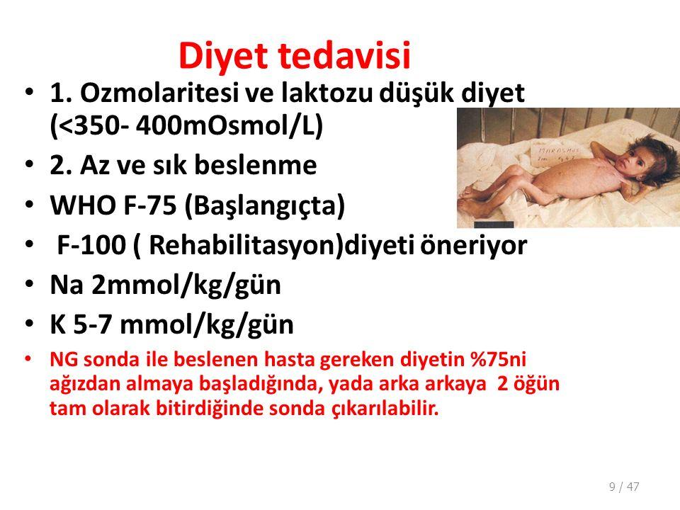 Diyet tedavisi 1.Ozmolaritesi ve laktozu düşük diyet (<350- 400mOsmol/L) 2.