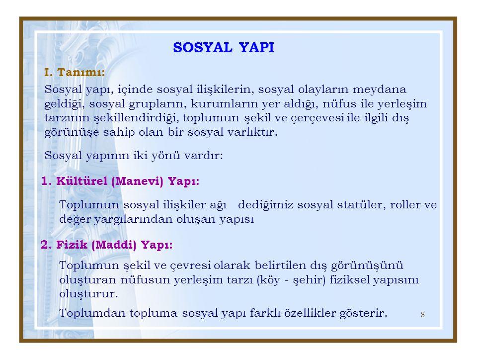 8 SOSYAL YAPI Sosyal yapı, içinde sosyal ilişkilerin, sosyal olayların meydana geldiği, sosyal grupların, kurumların yer aldığı, nüfus ile yerleşim ta