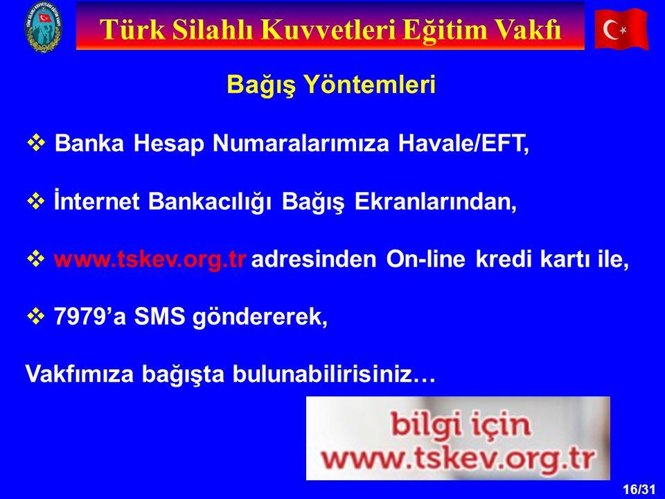 16/31 Bağış Yöntemleri Türk Silahlı Kuvvetleri Eğitim Vakfı  Banka Hesap Numaralarımıza Havale/EFT,  İnternet Bankacılığı Bağış Ekranlarından,  www