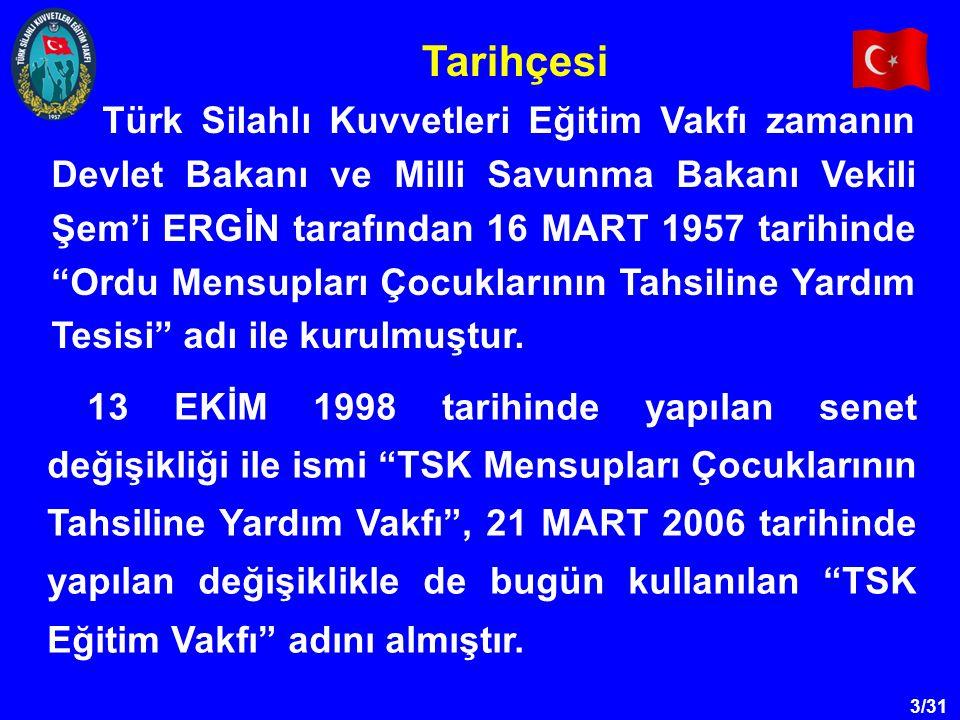 """3/31 Türk Silahlı Kuvvetleri Eğitim Vakfı zamanın Devlet Bakanı ve Milli Savunma Bakanı Vekili Şem'i ERGİN tarafından 16 MART 1957 tarihinde """"Ordu Men"""