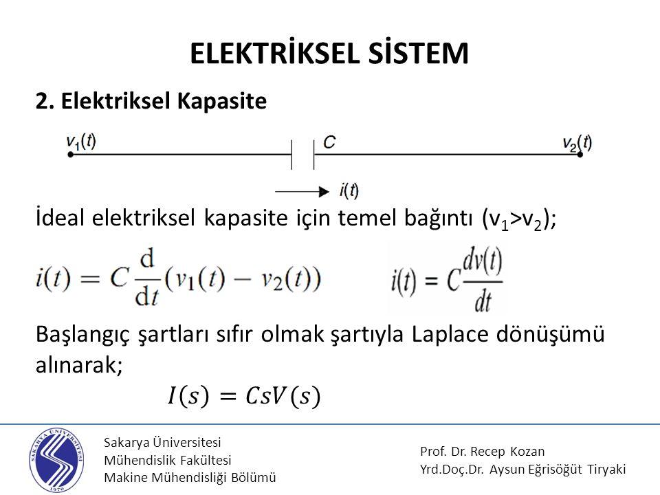 Sakarya Üniversitesi Mühendislik Fakültesi Makine Mühendisliği Bölümü MEKANİK SİSTEM Prof.