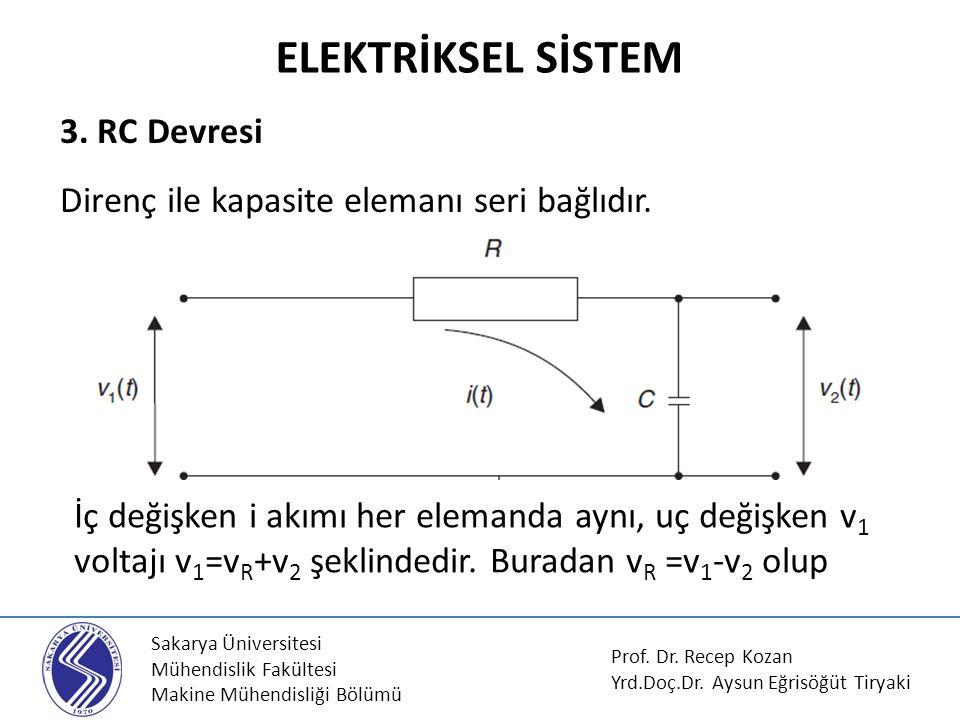 Sakarya Üniversitesi Mühendislik Fakültesi Makine Mühendisliği Bölümü Isıl sistemler basit olarak bir direnç ve bir de kapasite elemanı şeklinde modellenebilir.