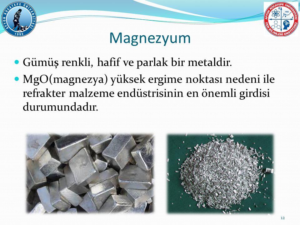 Magnezyum Gümüş renkli, hafif ve parlak bir metaldir. MgO(magnezya) yüksek ergime noktası nedeni ile refrakter malzeme endüstrisinin en önemli girdisi