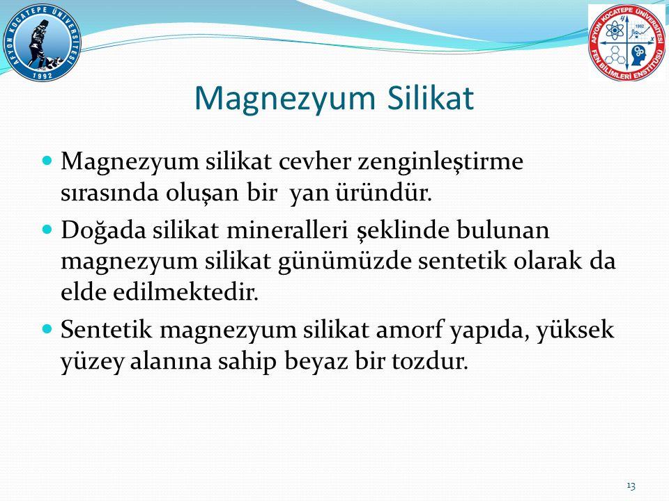 Magnezyum silikat cevher zenginleştirme sırasında oluşan bir yan üründür. Doğada silikat mineralleri şeklinde bulunan magnezyum silikat günümüzde sent