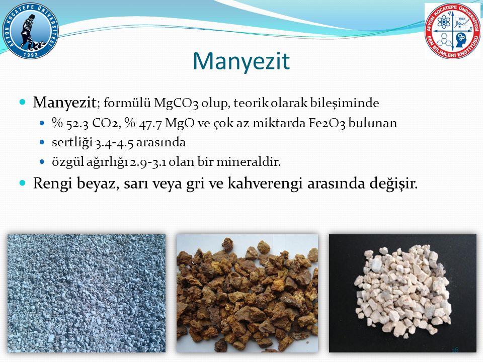 Manyezit Manyezit ; formülü MgCO3 olup, teorik olarak bileşiminde % 52.3 CO2, % 47.7 MgO ve çok az miktarda Fe2O3 bulunan sertliği 3.4-4.5 arasında öz