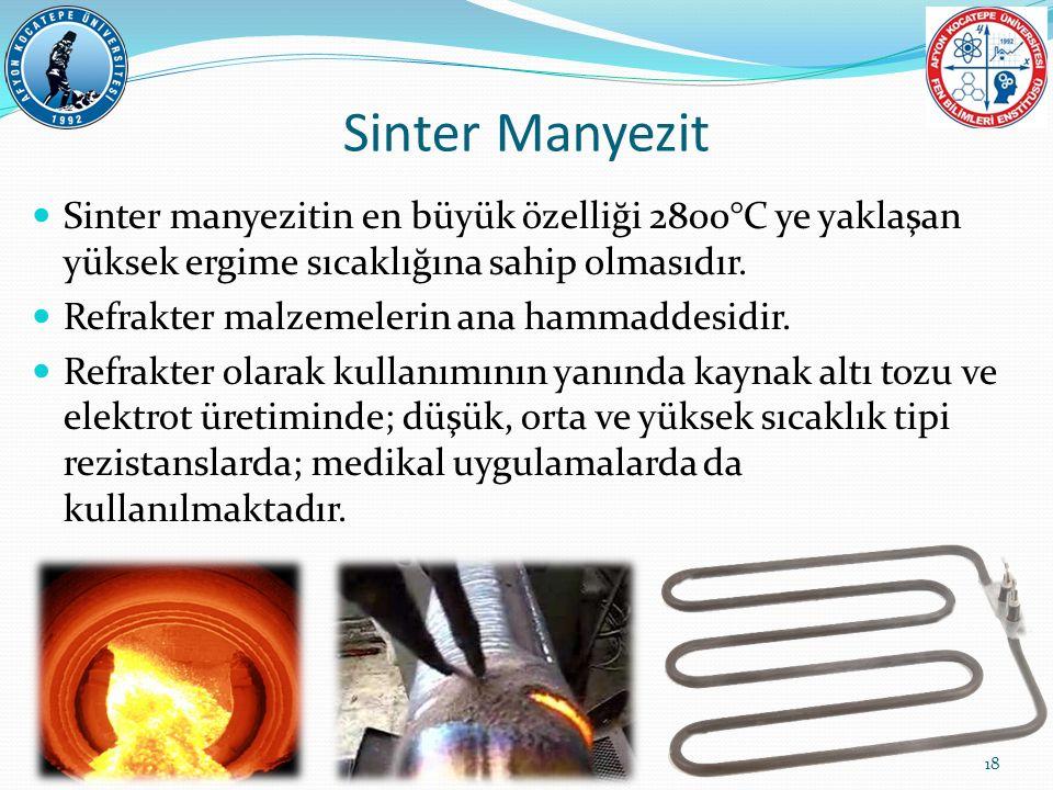 Sinter manyezitin en büyük özelliği 2800°C ye yaklaşan yüksek ergime sıcaklığına sahip olmasıdır. Refrakter malzemelerin ana hammaddesidir. Refrakter