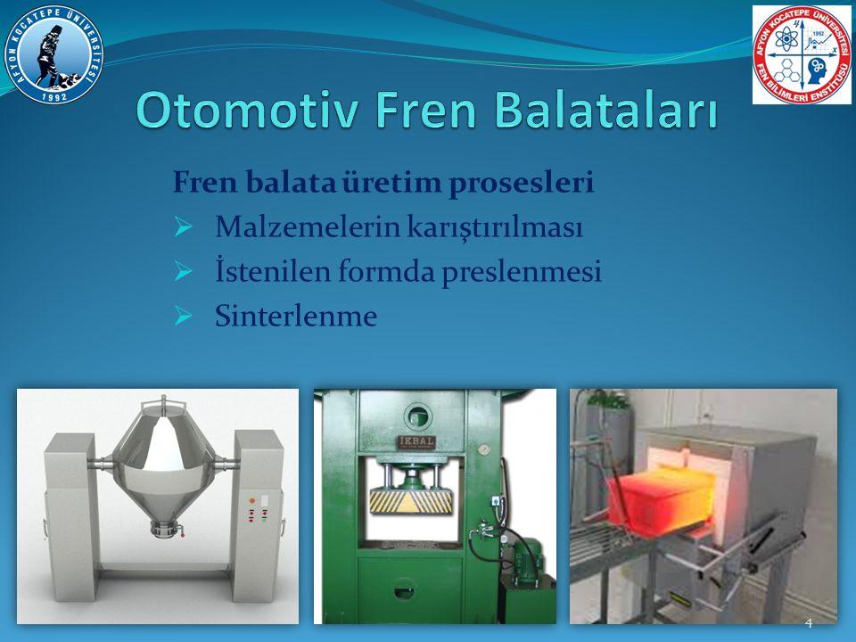 Fren balata üretim prosesleri  Malzemelerin karıştırılması  İstenilen formda preslenmesi  Sinterlenme 4