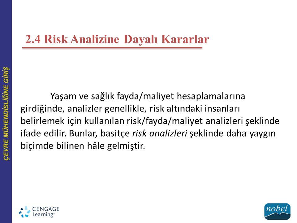 2.4 Risk Analizine Dayalı Kararlar Yaşam ve sağlık fayda/maliyet hesaplamalarına girdiğinde, analizler genellikle, risk altındaki insanları belirlemek için kullanılan risk/fayda/maliyet analizleri şeklinde ifade edilir.