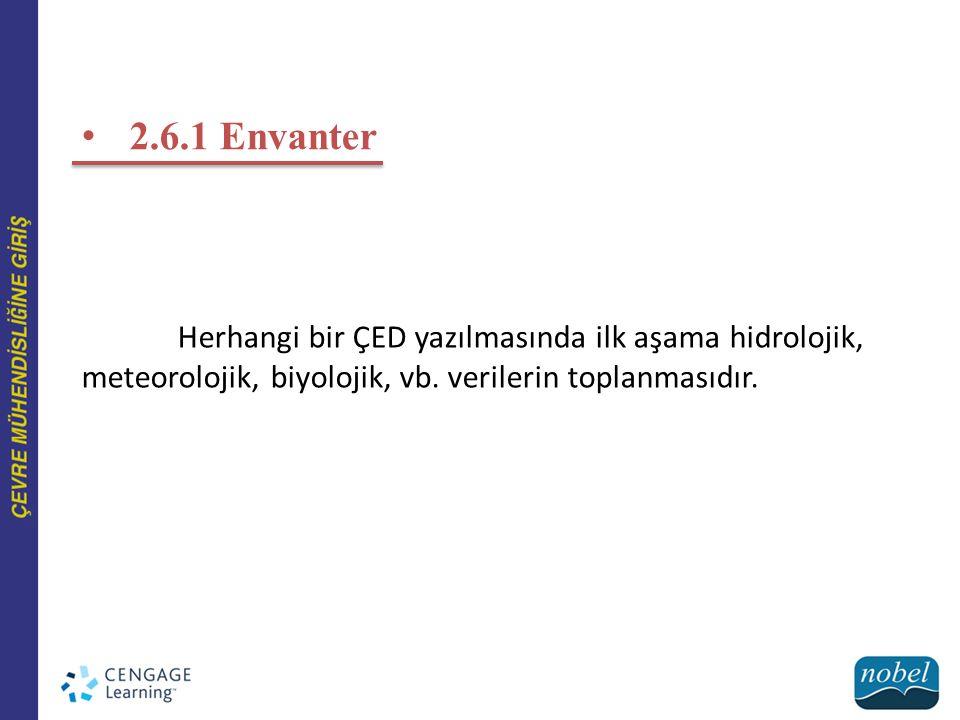 2.6.1 Envanter Herhangi bir ÇED yazılmasında ilk aşama hidrolojik, meteorolojik, biyolojik, vb. verilerin toplanmasıdır.