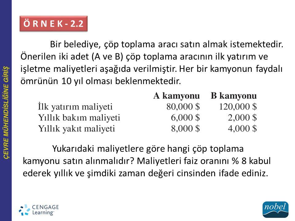 Ö R N E K - 2.2 Bir belediye, çöp toplama aracı satın almak istemektedir. Önerilen iki adet (A ve B) çöp toplama aracının ilk yatırım ve işletme maliy