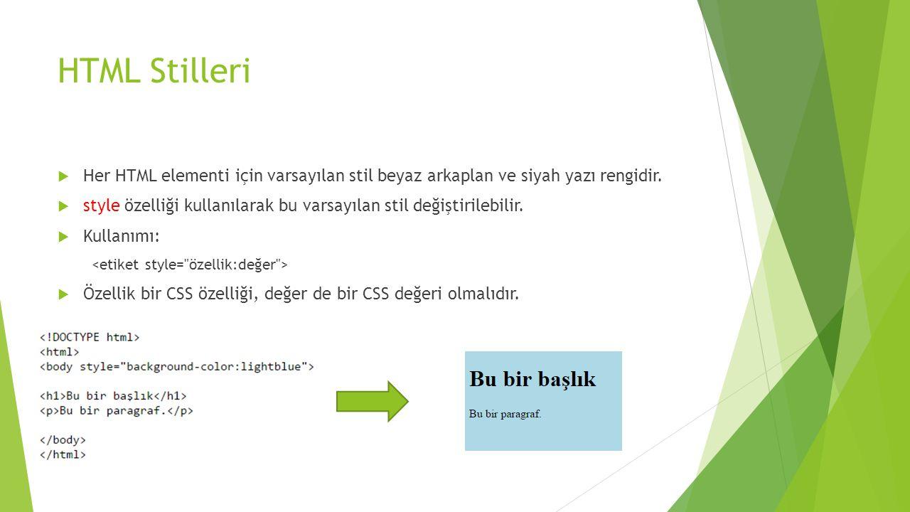 HTML Stilleri  Her HTML elementi için varsayılan stil beyaz arkaplan ve siyah yazı rengidir.  style özelliği kullanılarak bu varsayılan stil değişti