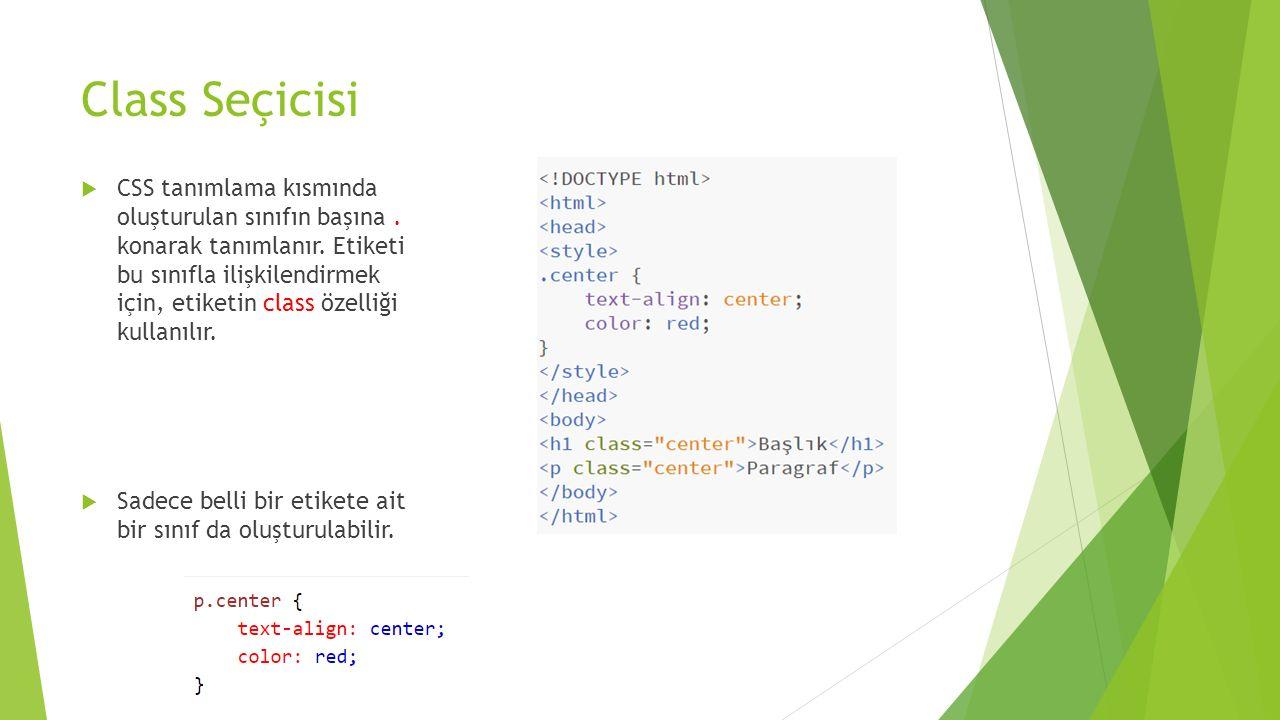 Class Seçicisi  CSS tanımlama kısmında oluşturulan sınıfın başına. konarak tanımlanır. Etiketi bu sınıfla ilişkilendirmek için, etiketin class özelli