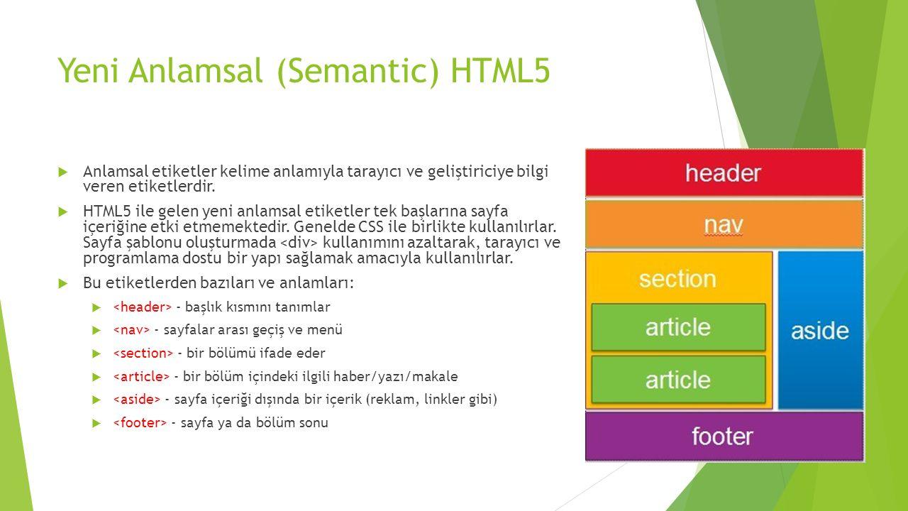 Yeni Anlamsal (Semantic) HTML5  Anlamsal etiketler kelime anlamıyla tarayıcı ve geliştiriciye bilgi veren etiketlerdir.  HTML5 ile gelen yeni anlams
