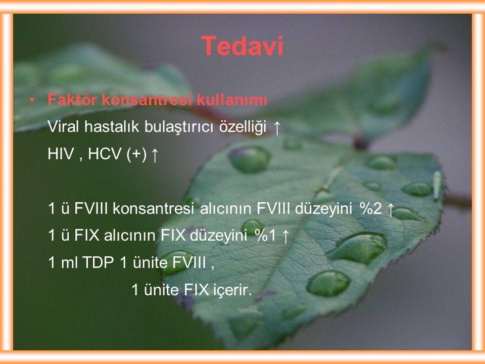 Tedavi Faktör konsantresi kullanımı Viral hastalık bulaştırıcı özelliği ↑ HIV, HCV (+) ↑ 1 ü FVIII konsantresi alıcının FVIII düzeyini %2 ↑ 1 ü FIX al
