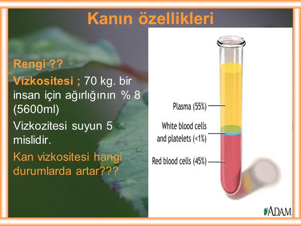 Kanın özellikleri Rengi ?? Vizkositesi ; 70 kg. bir insan için ağırlığının % 8 (5600ml) Vizkozitesi suyun 5 mislidir. Kan vizkositesi hangi durumlarda