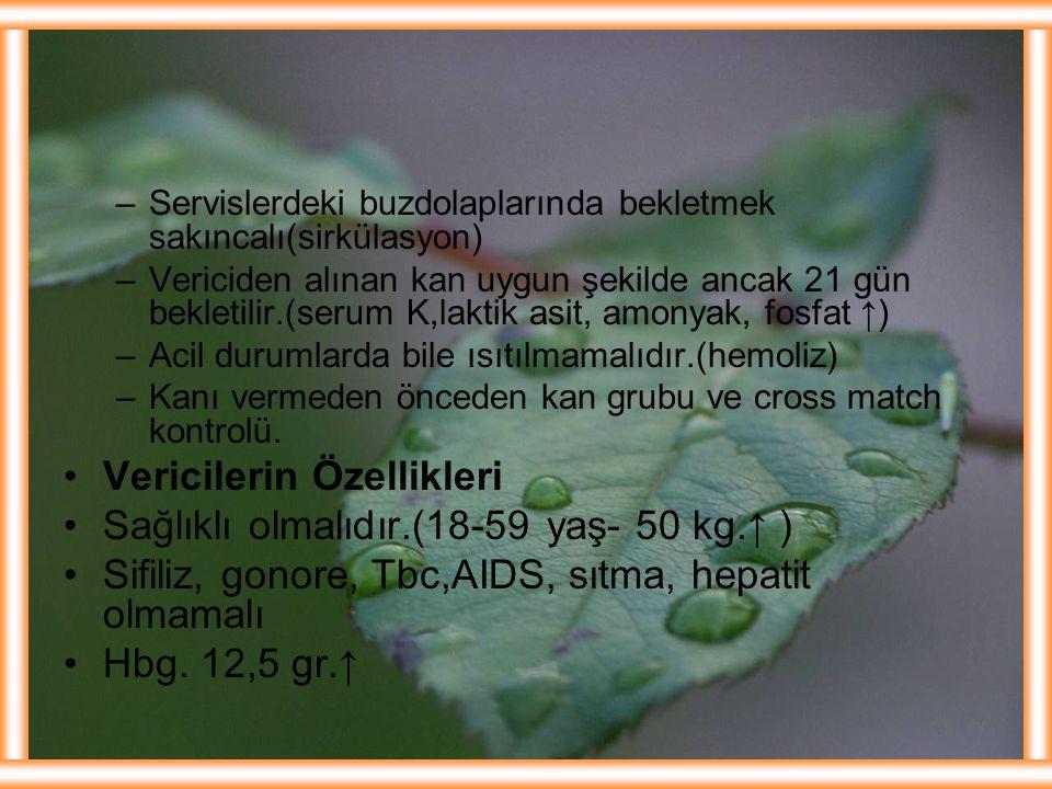 –Servislerdeki buzdolaplarında bekletmek sakıncalı(sirkülasyon) –Vericiden alınan kan uygun şekilde ancak 21 gün bekletilir.(serum K,laktik asit, amon