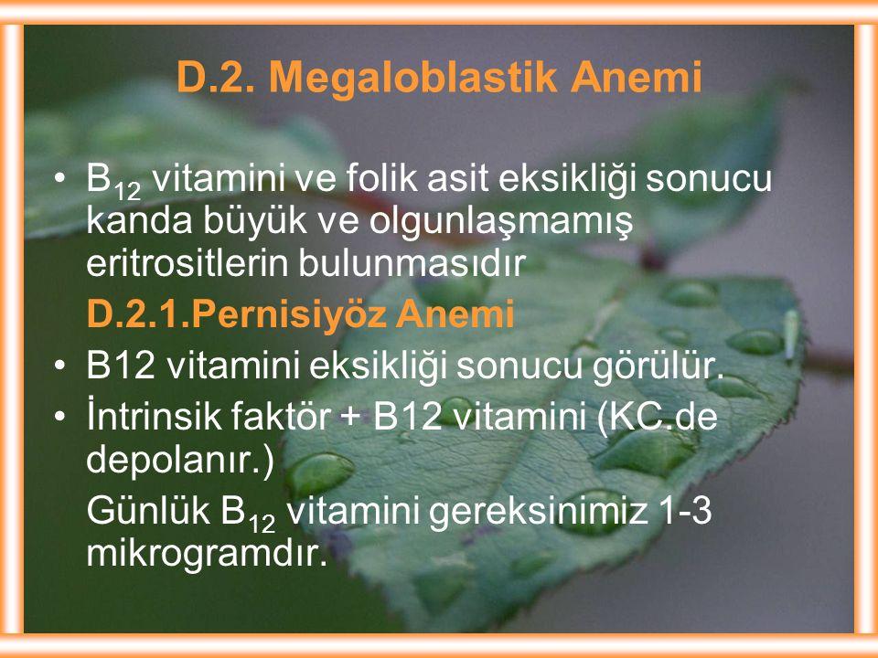 D.2. Megaloblastik Anemi B 12 vitamini ve folik asit eksikliği sonucu kanda büyük ve olgunlaşmamış eritrositlerin bulunmasıdır D.2.1.Pernisiyöz Anemi
